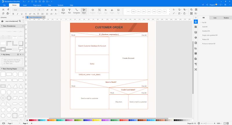 customize Nassi-Shneiderman diagram in EdrawMax