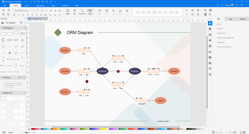 Choose an object role model (ORM) diagram template in EdrawMax