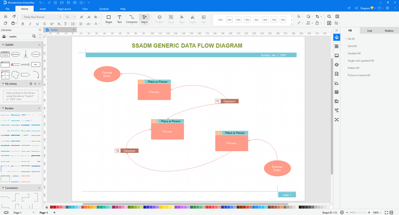 customize SSADM diagram in EdrawMax