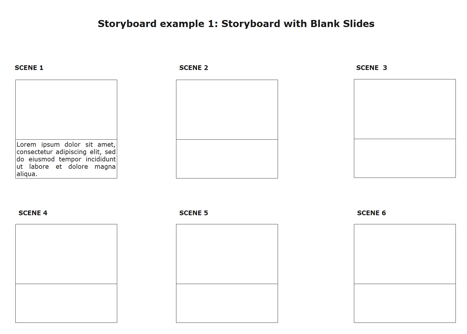 Storyboard with Blank Slides