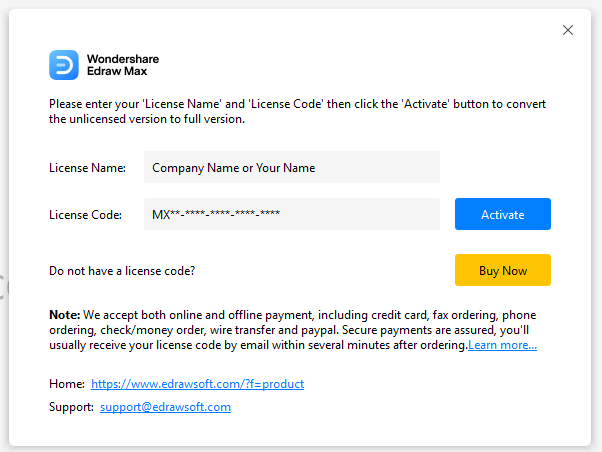 enter your license name and license code