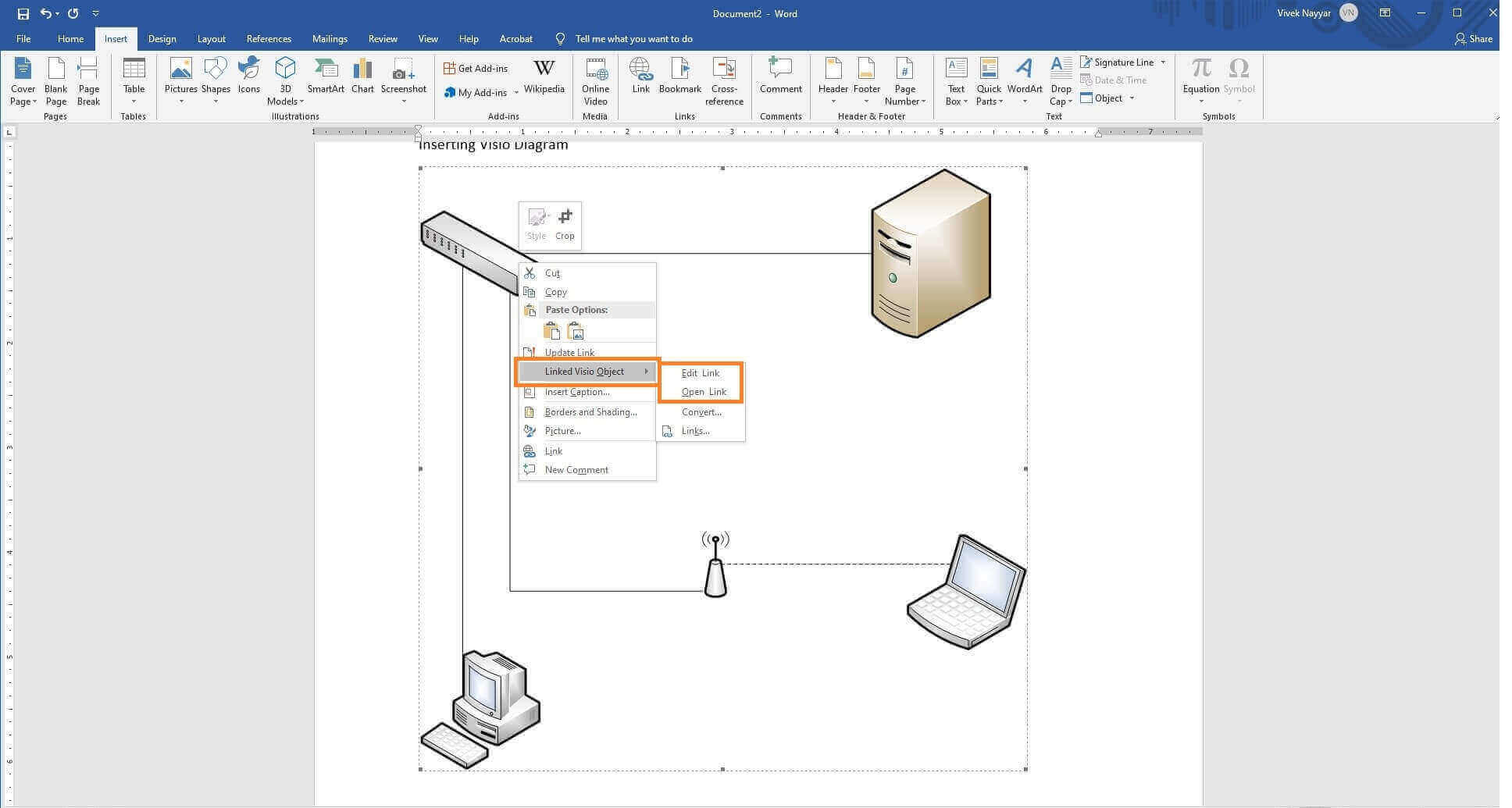 How To Insert  View And Edit Visio Diagram In Word