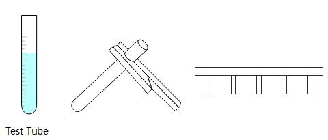 Test tubes, tongs, and racks