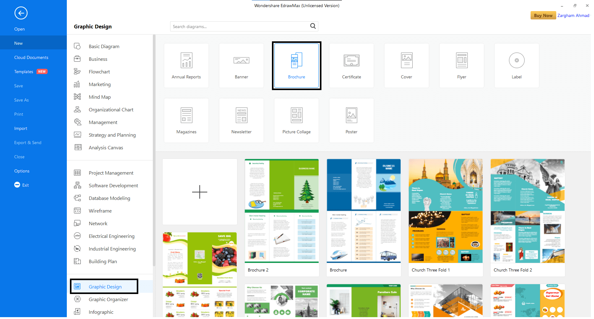 Open the Graphic Design tab and select Brochure