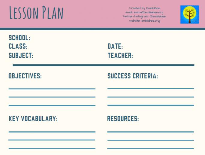 Plantilla de plan de lección en blanco
