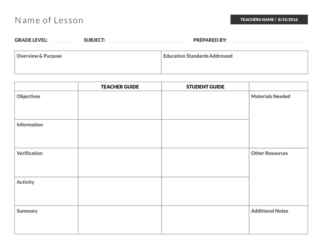 Student, teacher guide lesson plan template