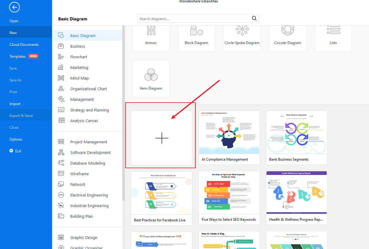 Choose a template or start from scratch