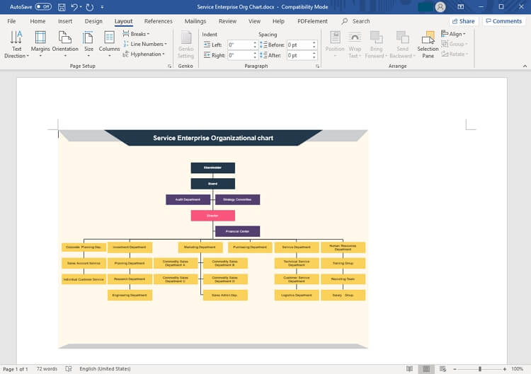enterprise organizational chart in Word