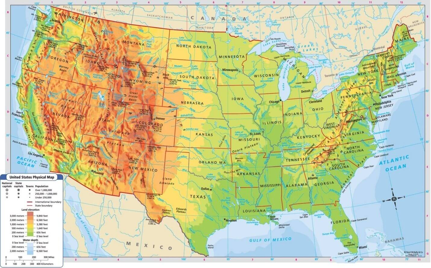 Physical Map of United States of America