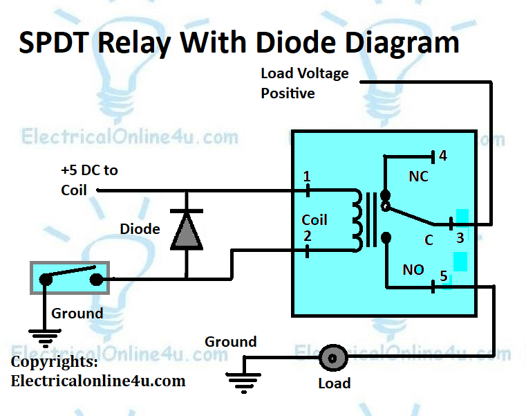 SPDT relay wiring with diode diagram