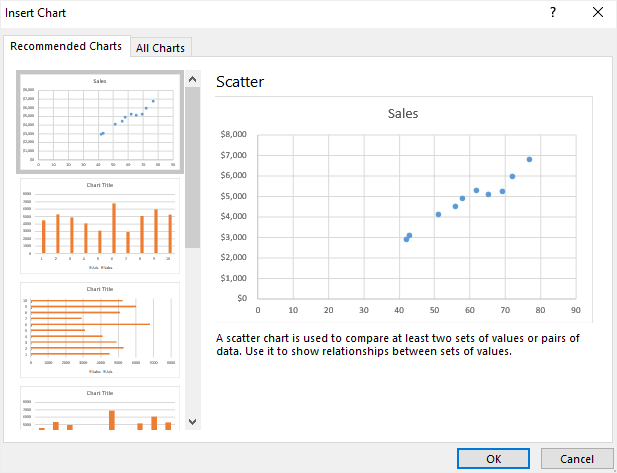 select the scatter plot icon