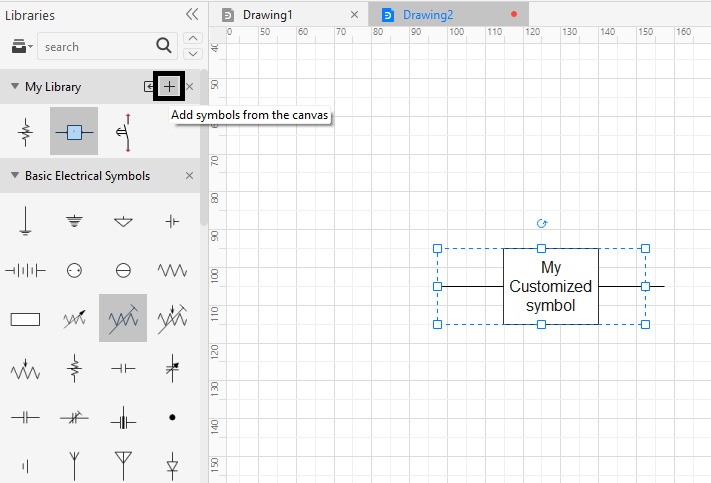 add symbol from canvas