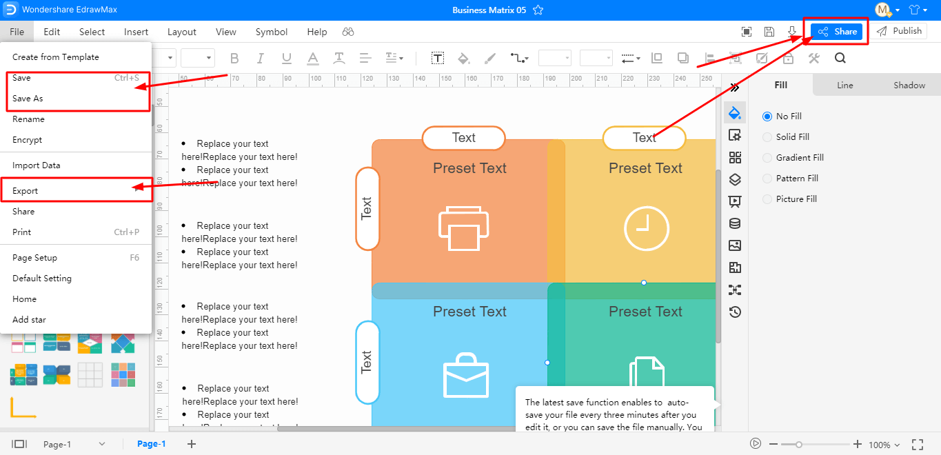 Save, export, and print your diagram