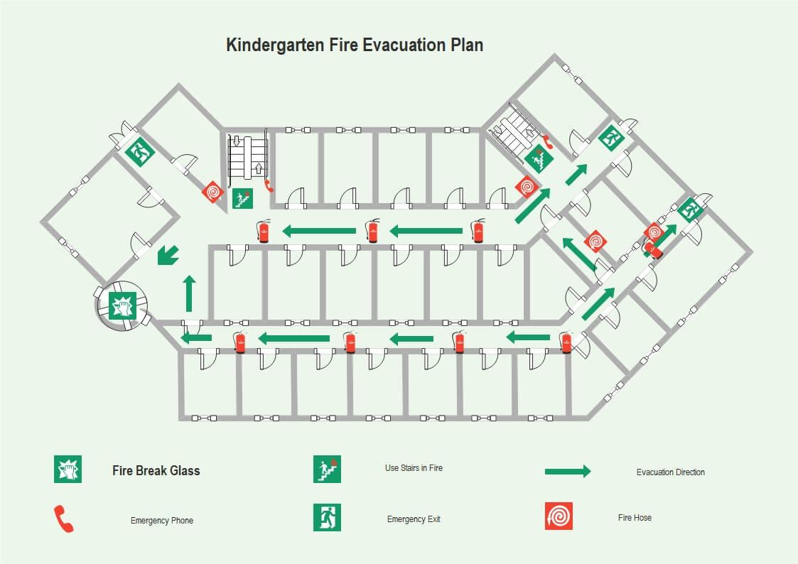 Kindergarten Fire Evacuation Floor Plan