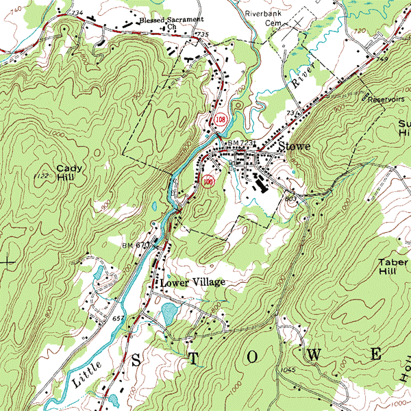 USGS topographic map of Stowe, Vermont, USA