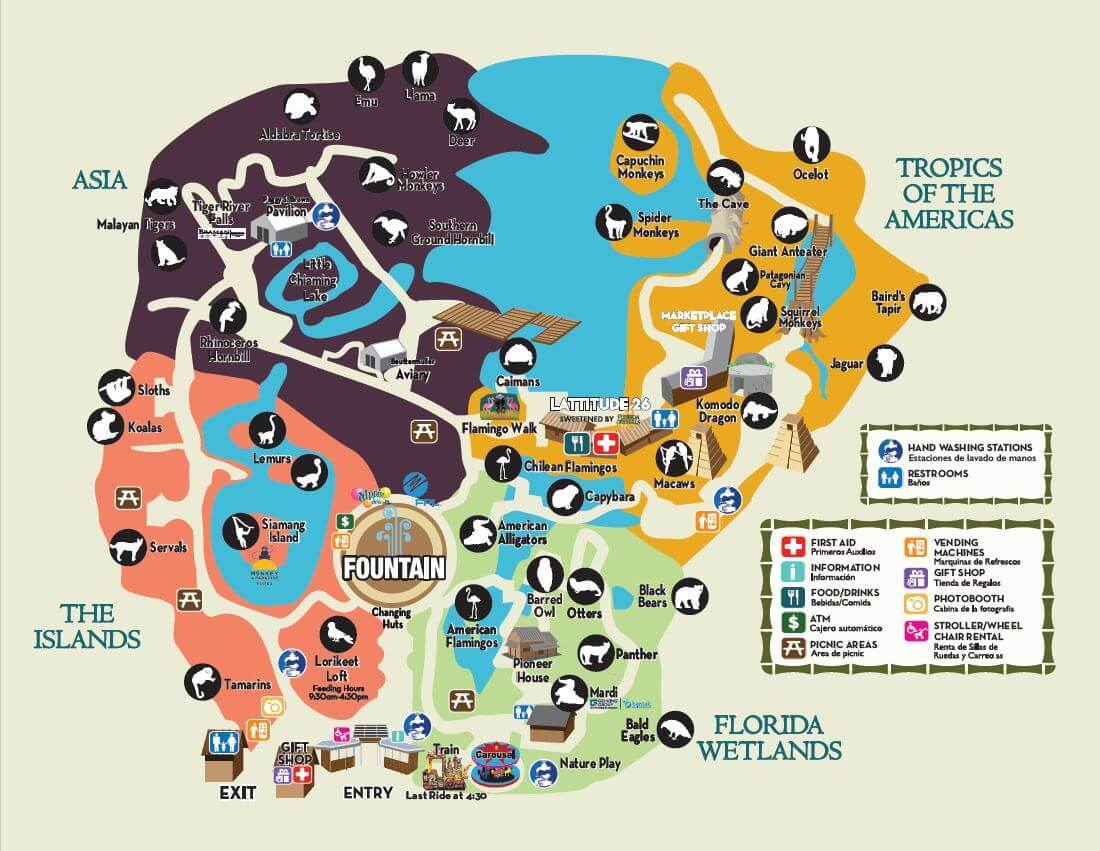 zoo map with key