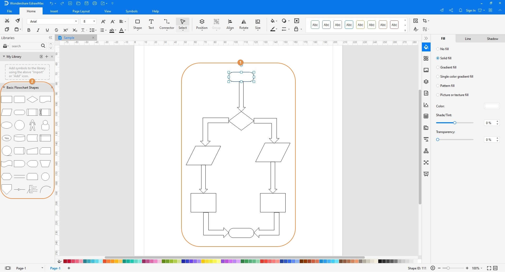 Add more shapes to the diagram in EdrawMax