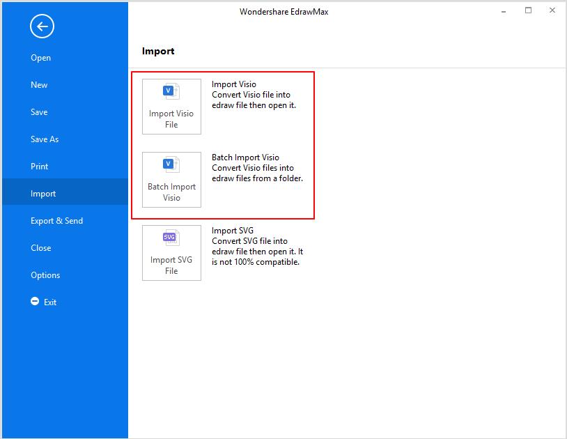 Botón Importar en EdrawMax