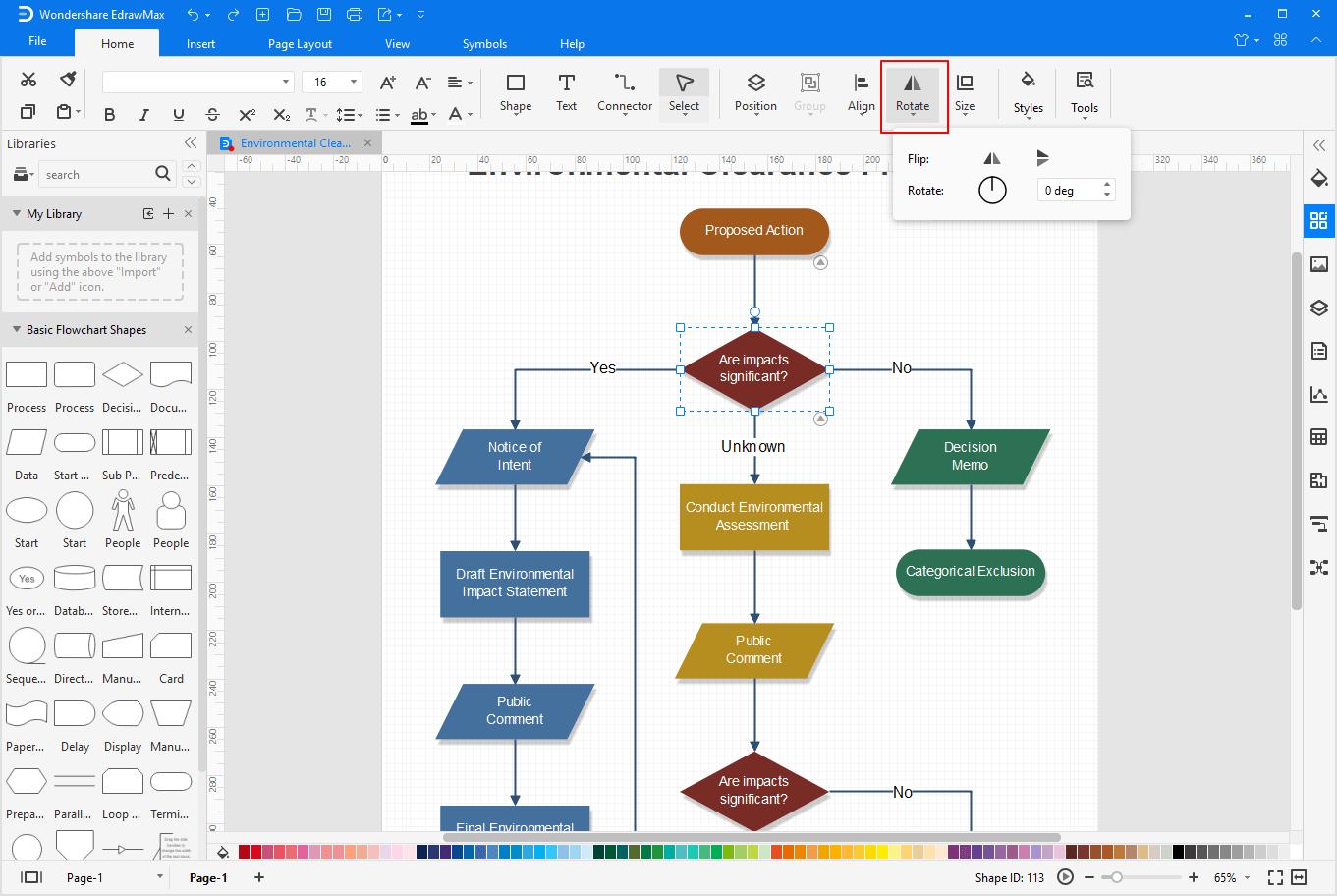 rotate visio file shapes