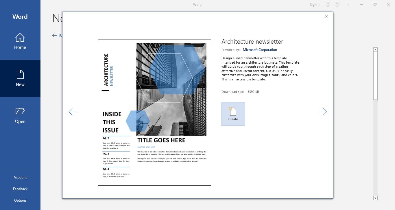 sélectionner le modèle de newsletter