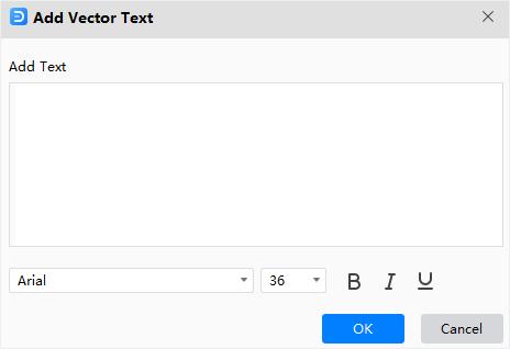 ventana agregar texto vectorial