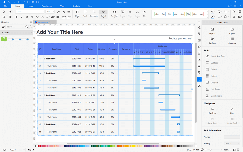 create gantt from template