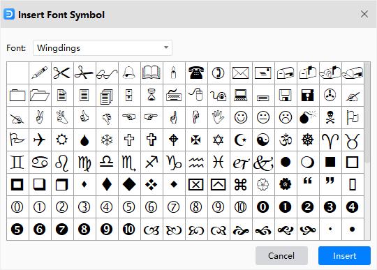 ventana insertar símbolo de fuente