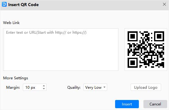 insert qr code window