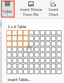 insert table menu