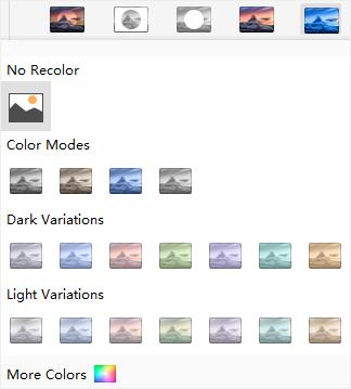 recolor picture menu