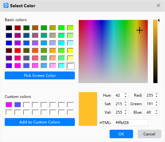 select custom color window