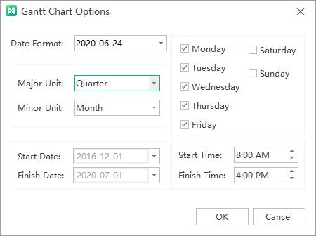 gantt chart options window