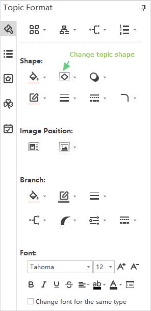 shape topic format pane