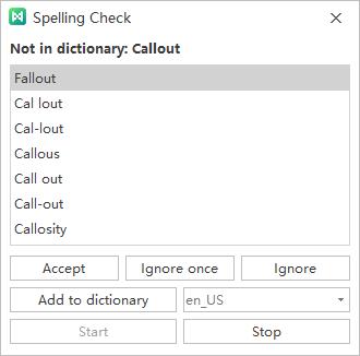 spelling check window