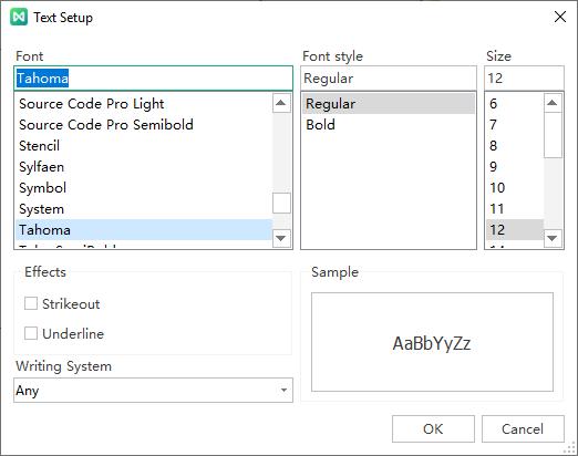 text setup window