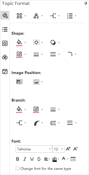 Topic Format pane