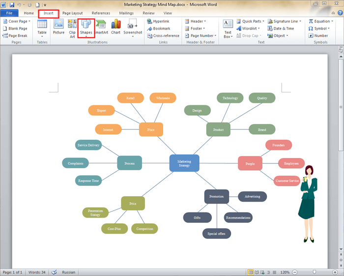 Create Mind Map in MS Word