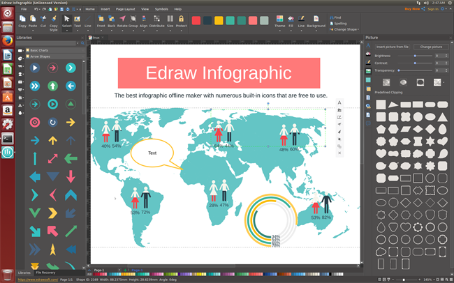 start page of edraw infographic