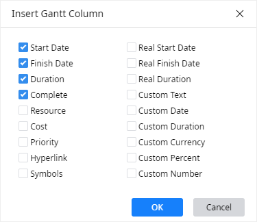 insert gantt chart column window