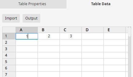 table data pane