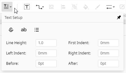 text setup button