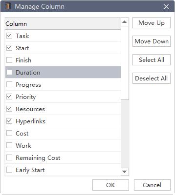 manage column window