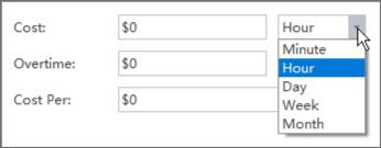 unidad de tiempo de costo de recursos