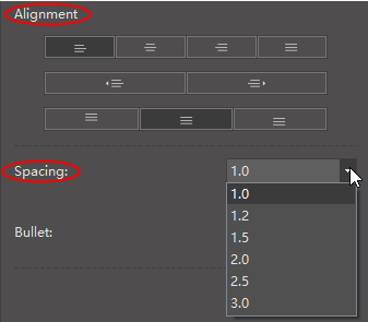 alignment spacing option