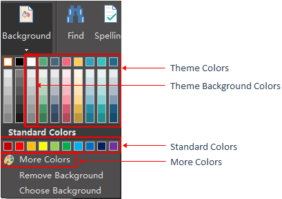 background color menu