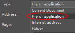 file or application option