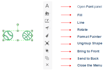 floating menu for grouped shapes