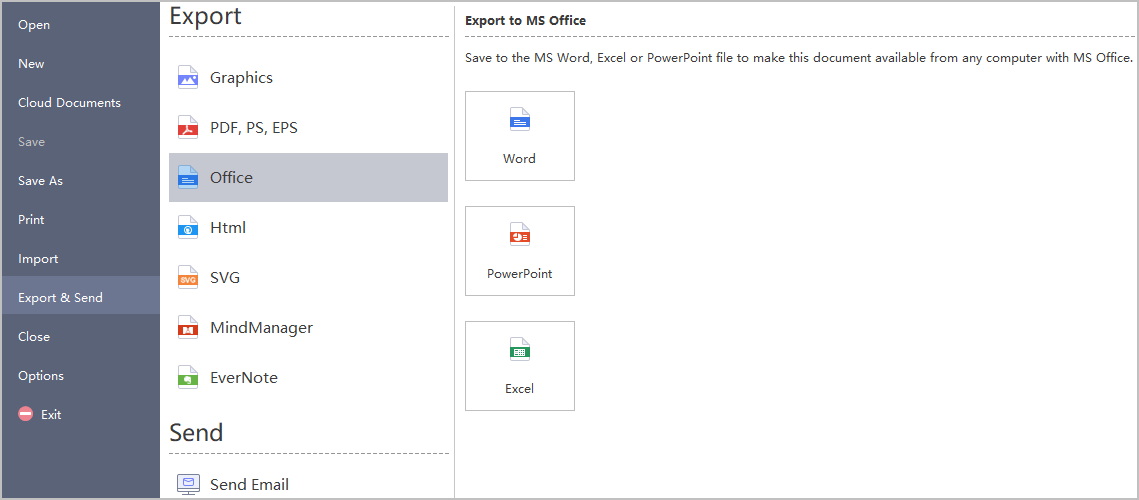 export mind map options