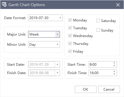gantt chart options window