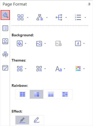 page format panel